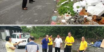 砂拉越人民联合党公共投诉局主任叶耀星偕同人联党哥打圣淘沙支部成员前往八点地第17,30,39及43巷视察。