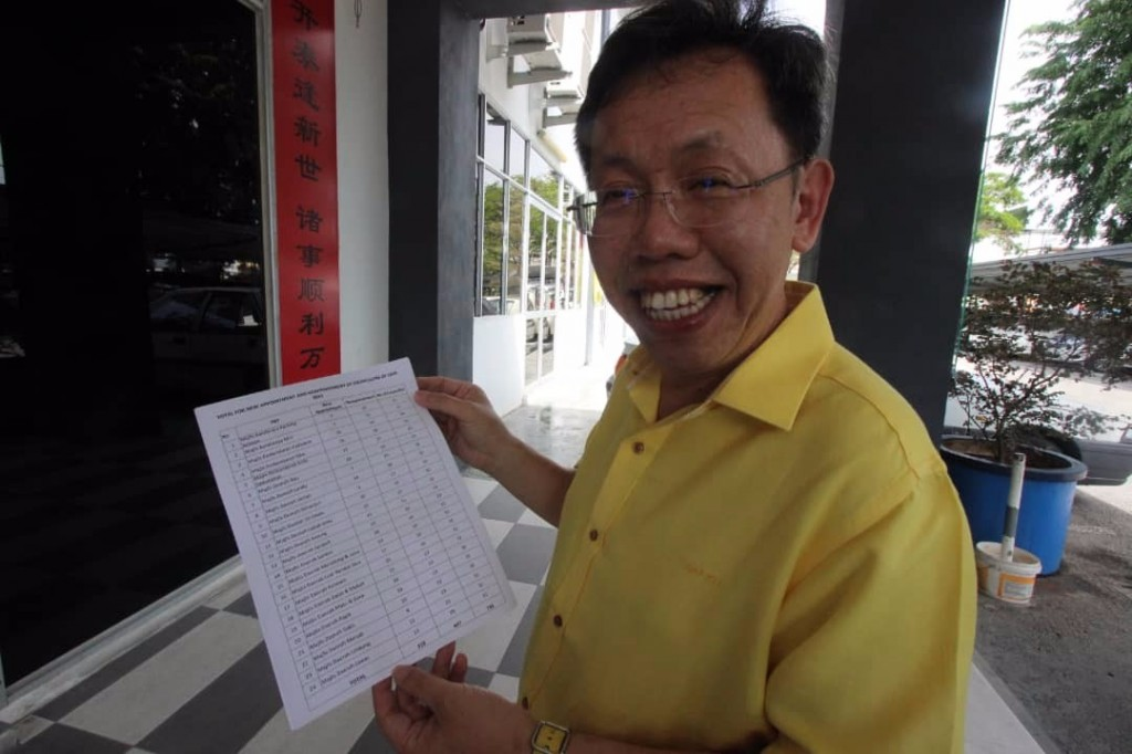 Dr. Sim showing the list of councillors.